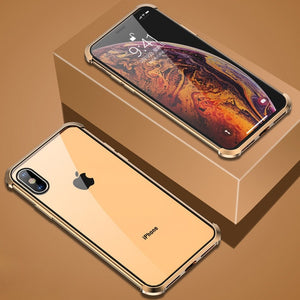 360° Luxury Frameless  Front+Back Magnetic Tempered Glass Case For iPhone