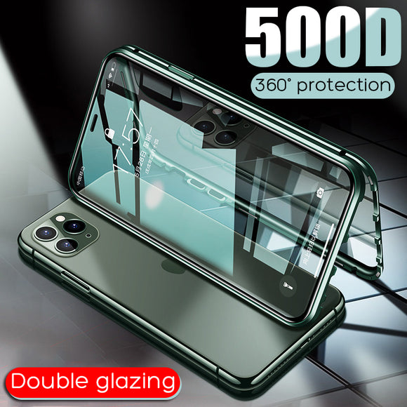 Luxury Double Glass Magnetic Adsorption Metal Case For iPhone 11/Pro/Max X XR XS MAX 8 7 6S 6/Plus