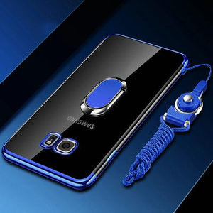 Phone Case - Luxury Ultra Thin Plating Magnetic Ring Holder Case For Samsung Note 9/8 S9 S8/Plus S7 S6/Edge With FREE Strap