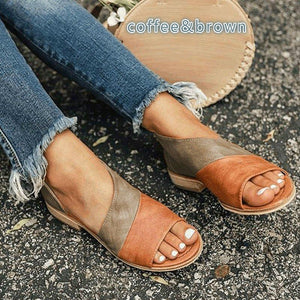 Shoes - Vintage Style Fashion Women's Casual Peep Toe Pointed Flat Sandals