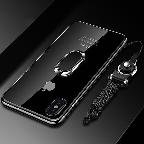 Phone Case - Luxury Ultra Thin Plating Magnetic Ring Holder Case For iPhone X XR XS(Max) 8 7 6S 6/Plus With FREE Strap