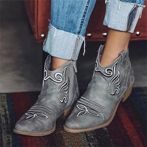 Autumn Winter Fashion Embroidery Women's Ankle Boots