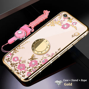Bling Diamond Plating Flowers Magnetic Ring Holder Case For iPhone X XR XS XS MAX 8 7 6S 6/Plus With FREE Strap