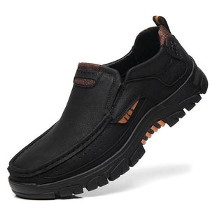 Hizada Men Handmade Leather Non Slip Casual Outdoor Casual Shoes