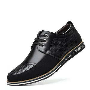 Hizada British Style Men's Soft Comfortable Leather Casual Shoes
