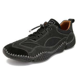 Hizada Fashion Men's Comfortable Soft Leather Lace Up Casual Shoes