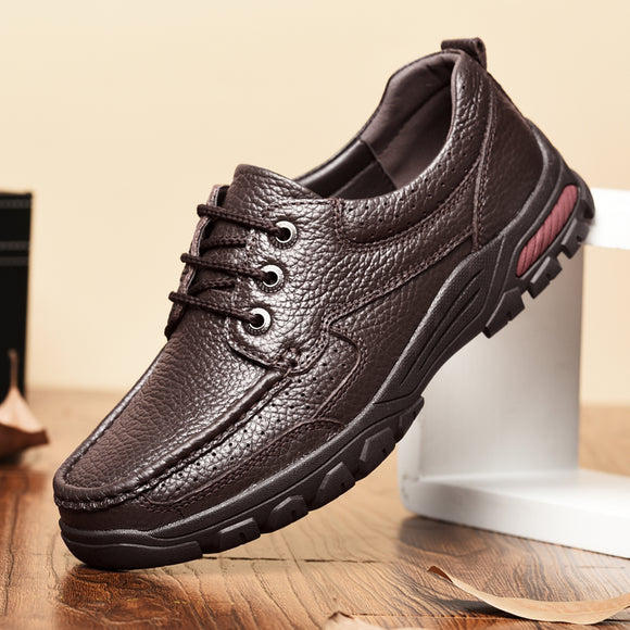 Hizada Big Size High Quality Leather Fashion Men's Comfortable Casual Shoes