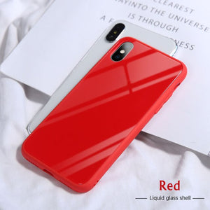 Luxury Mirror Glossy Silicone Solid Color Cover For iPhone X XR XS MAX 8 7 6S 6/Plus