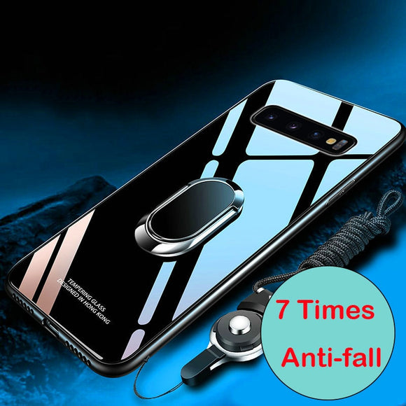 Luxury Tempered Glass Magnetic Ring Holder Case Samsung Note 10 S10/Plus/Lite Note 9 8 S9 S8/Plus S7/Edge With FREE Strap