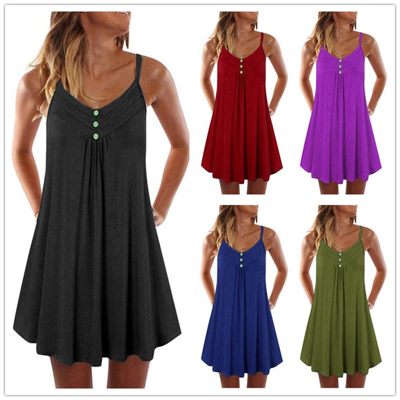 Plus Size Loose A-line Sundress Sexy Beach Dress