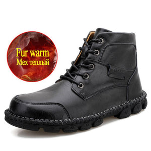 New Men's Lace-up Comfortable Waterproof Leather Boots