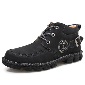 Hizada Men's Hand Stitching Non Slip Metal Buckle Casual Leather Boots