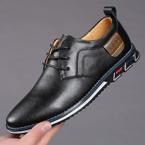 Hizada Men's Comfortable Soft Lace Up Business Casual Leather Shoes
