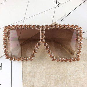 Fashion Large Diamond Crystal  Square Sunglasses