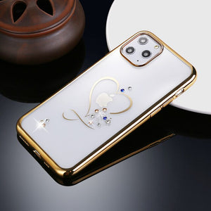Fashion Love Heart Diamond Plating Soft Silicone Case For iPhone 11/Pro/Max X XR XS MAX 8 7 6S 6/Plus