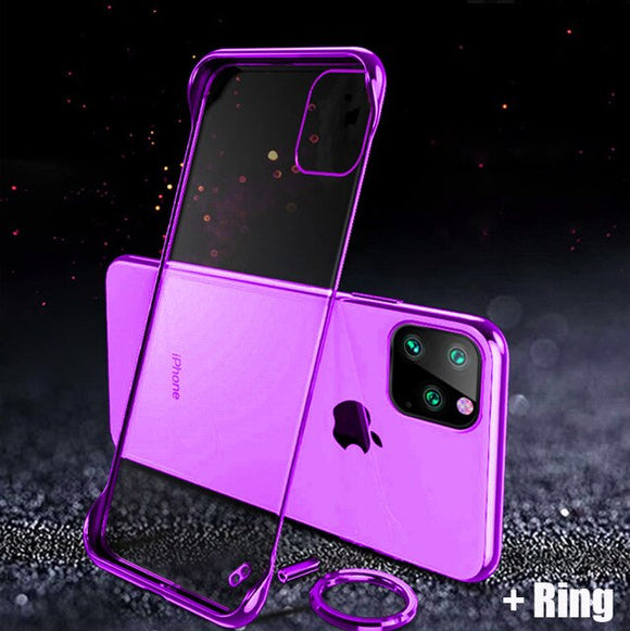 New Arrival Frameless Case For iPhone 11/Pro/Max X XR XS MAX 8 7 6S 6/Plus + Free Ring