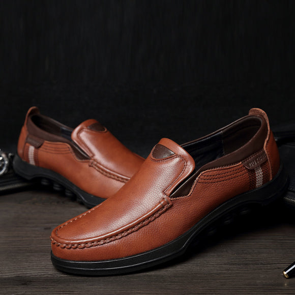 Large Size Men's Slip On Soft Sole Leather Casual Shoes