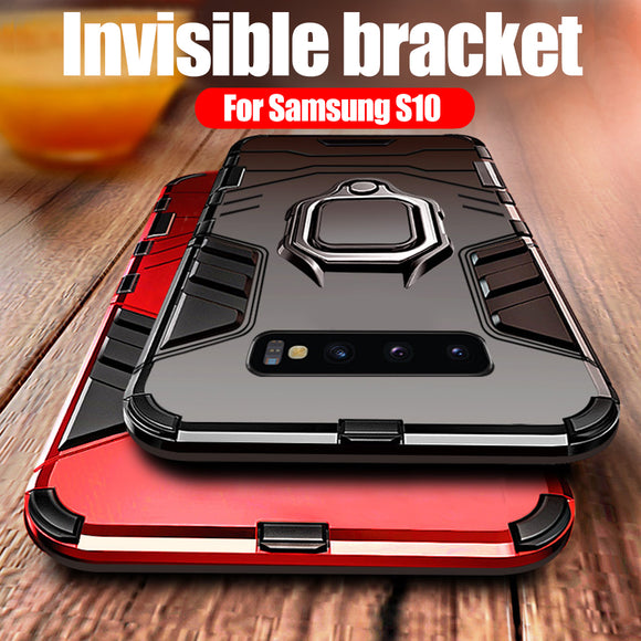 Phone Case - Luxury Shockproof Heavy Duty Anti-knock PC + TPU Cover With Holder For Samsung S10 S10 Plus S10E Note 9/8 S9 S8/Plus