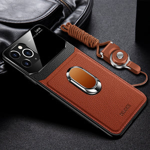 Luxury Shockproof Leather + Hard PC Magnetic Ring Holder Case For iPhone With FREE Strap