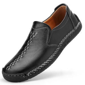 Hizada Large Size Men's Handmade Soft Leather Walking Loafers Shoes
