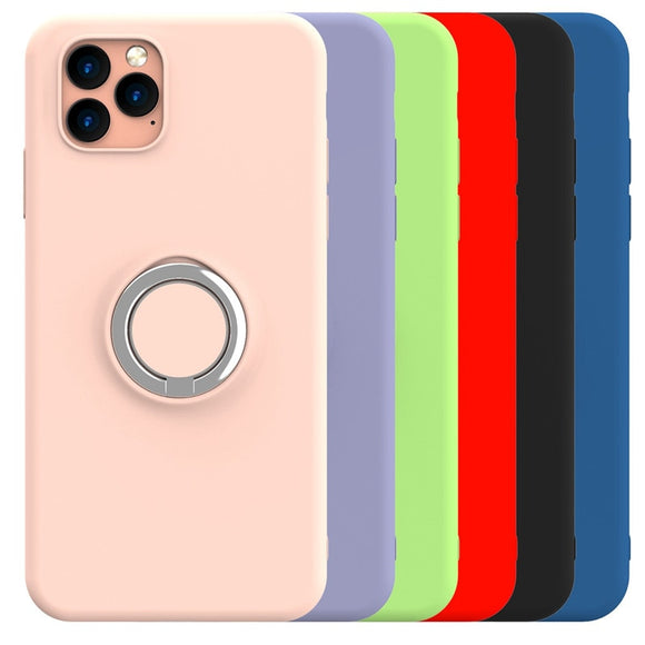 Phone Case - Soft Liquid Silicone Shockproof Magnetic Ring Holder Case For iPhone 11/Pro/Max  X XR XS XS MAX 8 7 6S/6Plus