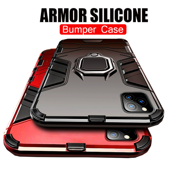 Hizada Luxury Shockproof Heavy Duty Anti-knock PC + TPU Cover With Holder For iPhone 11/Pro/Max X XR XS MAX 8 7 6S 6/Plus(Buy 2 Get 10% off, 3 Get 15% off)
