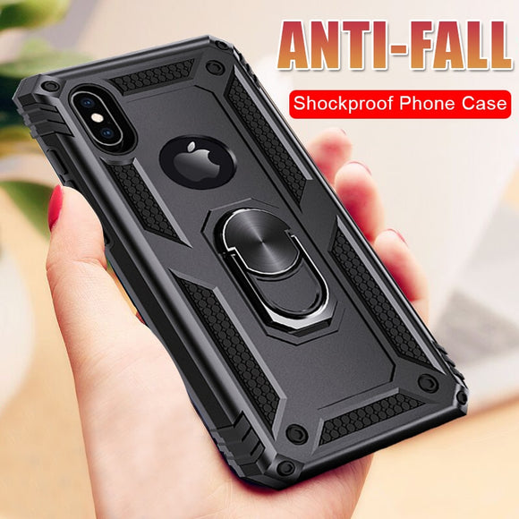 Phone Case - Shockproof Armor Bumper Magnetic Ring Holder Case For iPhone X XR XS MAX 8 7 6S 6/Plus