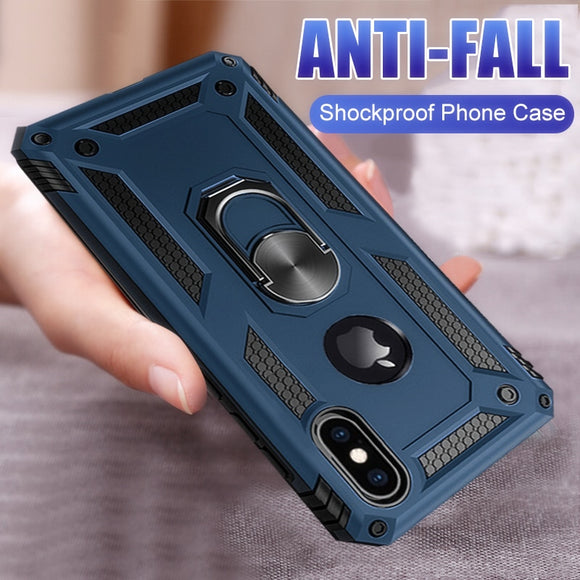 Phone Case - Luxury Armor Soft Silicone Bumper Shockproof Magnetic Ring Holder Case For iPhone X XR XS XS MAX 8 7 6S 6/Plus