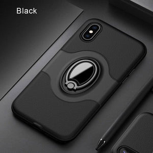 Luxury Leather Shockproof Magnetic Ring Holder Case For iPhone X XR XS MAX 8 7 6S 6/Plus