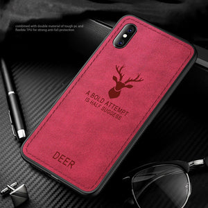 Luxury Cloth Canvas Leather Texture Phone Case For iPhone X XR XS MAX 8 7 6S 6/Plus 5