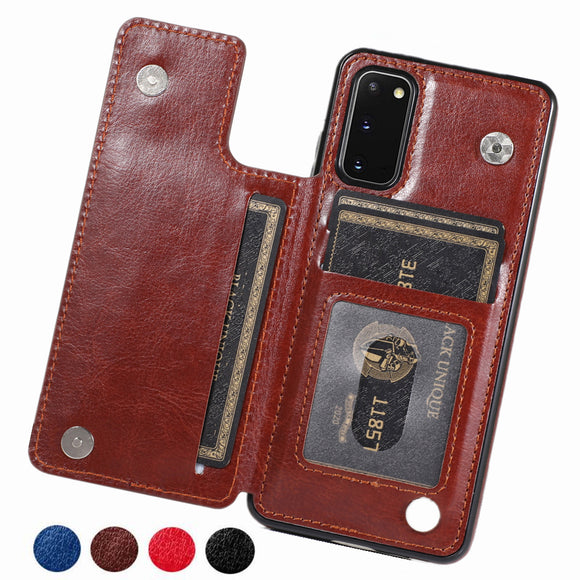 Hizada Luxury Leather Card Slot Holder Flip Case For Samsung Note 10/Pro/9/8 S20/Plus/Ultra S10/Plus/E S9 S8/Plus S7/Edge