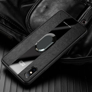 Luxury Shockproof PU Leather Magnetic Ring Holder Case For iPhone X XR XS MAX 8 7 6S 6/Plus