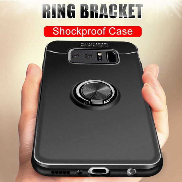 Phone Case - Luxury Shockproof Silicone Magnetic Ring Holder Case For Samsung S10 S10Plus S10E Note 9 8 S9 S8/Plus