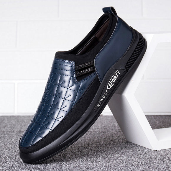 Men's Soft Leather Splicing Non Slip Stitching Casual Slip On Shoes