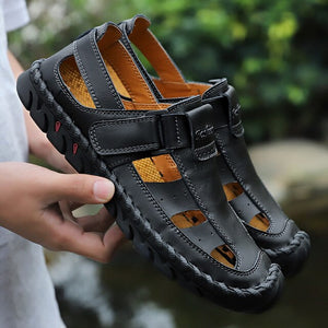 Hizada Fashion Men's Big Size Breathable Leather Flats Beach Casual Shoes