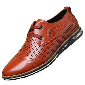 Hizada Fashion Men's Comfortable Hollow Out Men Leather Casual Shoes