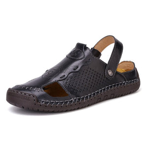 Fashion Men's Genuine Leather Big Size Breathable Flats Slippers