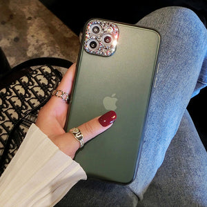 Midnight Green Bling Diamond Camera Protection Matte Cover For iPhone 11/Pro/Max X XR XS MAX 8 7 6S 6/Plus