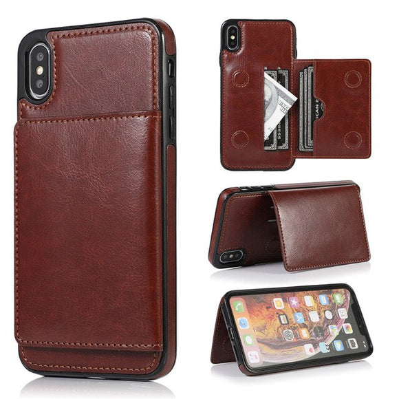 Retro Leather Multi-Function Card Holder Wallet Phone Case For iPhone X XR XS MAX 8 7 6S 6/Plus 5