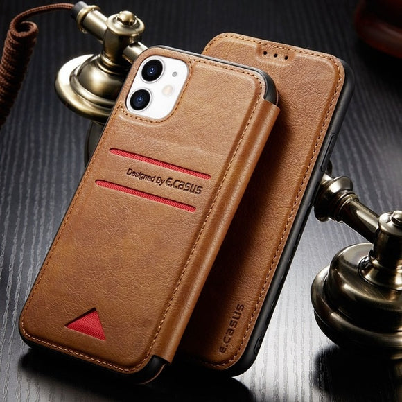 Retro Style Magnetic Card Stand Wallet Leather Case For iPhone