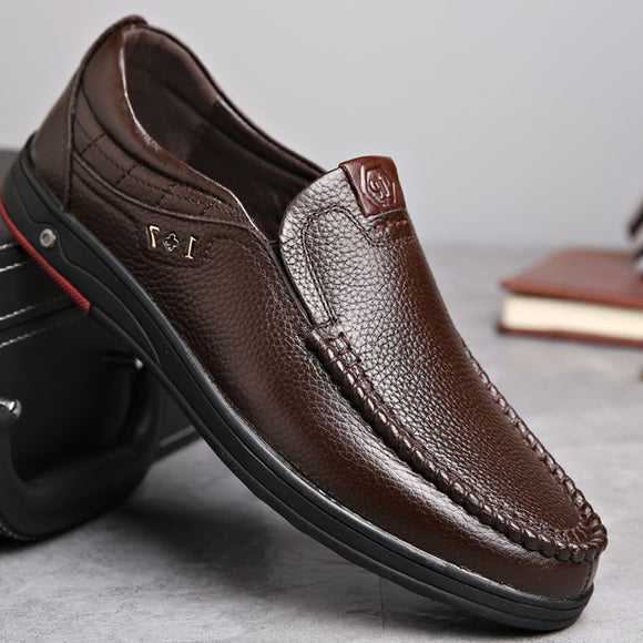 Fashion Men's Soft Comfortable Leather Slip On Shoes