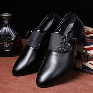 Men's Handmade Leather Splicing Non Slip Side Lace Casual Formal Dress Shoes