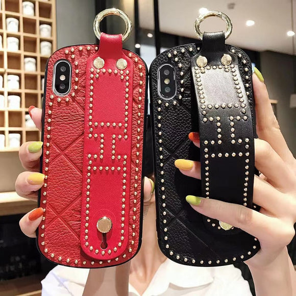 New Luxury Rivet Phone Case For iPhone X XR XS MAX 8 7 6S 6/Plus With Wrist Strap
