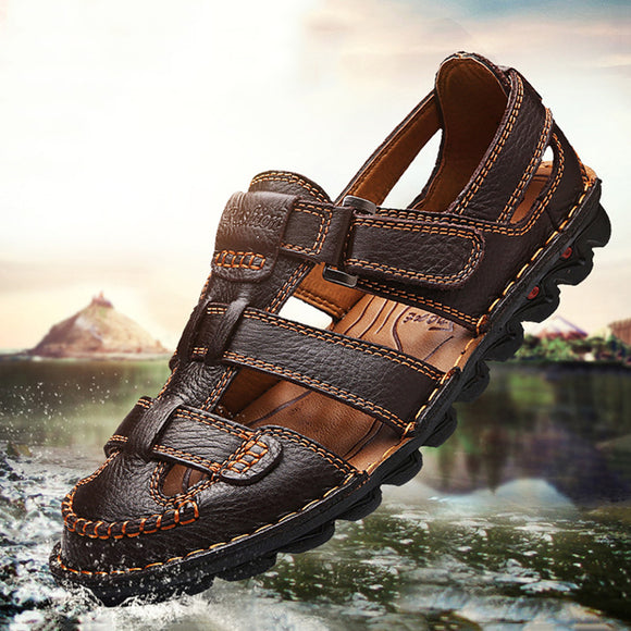 Hizada Men's Genuine Leather Handmade Non Slip Large Size Casual Sandals