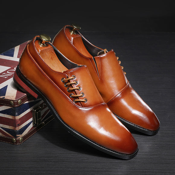 Hizada 2020 New Fashion Classic Men's Formal Flat Brown Shoes