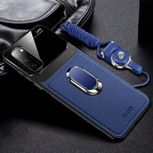 Hizada 2020 New Leather + Hard PC Magnetic Ring Holder Case For Samsung With Strap