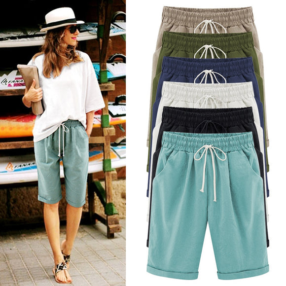 Women's Plus Size Elastic Waist Casual Shorts Cotton Fifth Knee-Length Pants