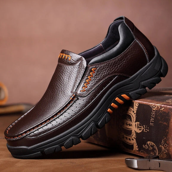 Hizada Men's High Quality Leather Oxfords Slip On Casual Shoes(Buy 2 Get 10% OFF, 3 Get 15% OFF)