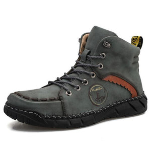 Hizada Plus Size Men's Outdoor Hand-stitched Leather Colorblock Hiking Ankle Boots