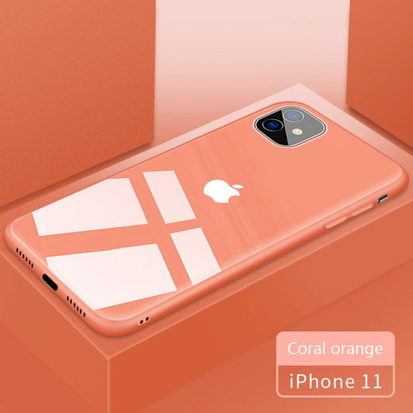 Candy Color Tempered Glass Case For iPhone 11/Pro/Max X XR XS MAX 8 7 6S 6/Plus